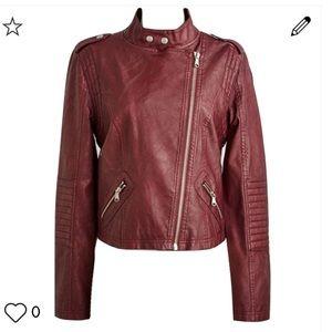 Modcloth burgundy faux leather moto jacket S