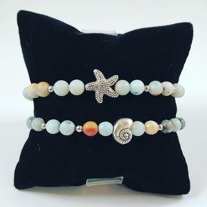 Genuine amazonite gem silver star fish & shell set