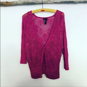 Pink Torrid Cardigan with gold metallic threading