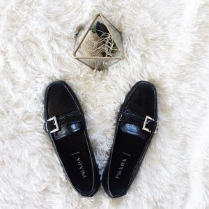 PRADA // black patent loafer shoes
