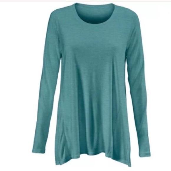 73c0a581047 CAbi Tops | 3056 Heathered Teal Long Sleeve Swing Teexs | Poshmark