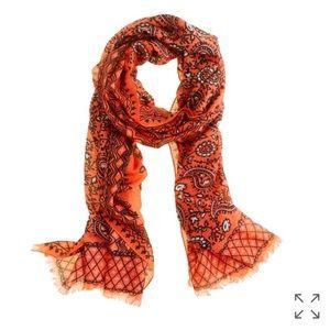 J crew vibrant orange paisley scarf