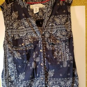 H&M Blue/White Sleeveless 100% Cotton Top