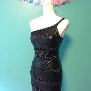 Dresses & Skirts - Faux leather mini dress with studs
