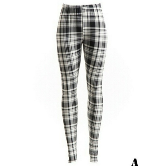 127c4c9b245b11 Pants | Black White Plaid Leggings | Poshmark