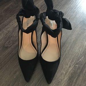 Zara black ankle tie heels