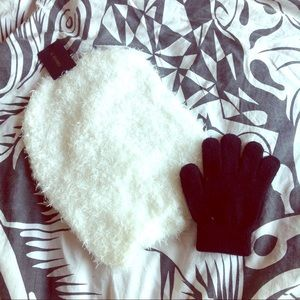 White fuzzy furry hat beanie slouchy hipster