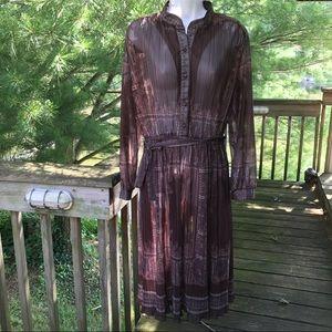Vintage Boho Brown Sheer Pleated 70's Dress