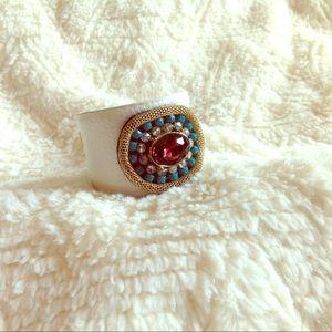 White cuff bracelet jeweled gold blue pink crystal
