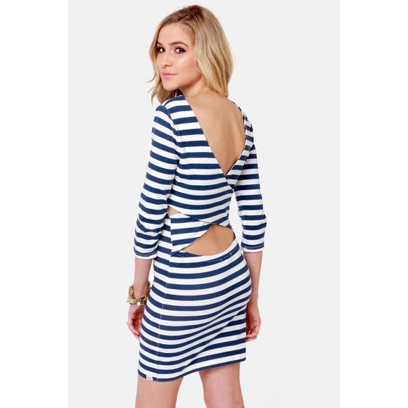 Billabong Dresses & Skirts - BILLABONG BLUE AND WHITE STRIPED DRESS
