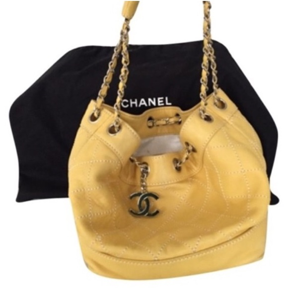 a791a6099f63f CHANEL Handbags - Chanel Yellow Quilted Lambskin Bucket Bag