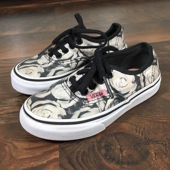 gray floral vans