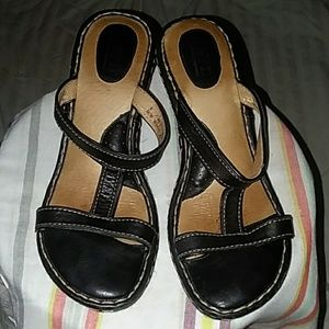 BORN Black Leather Wedges