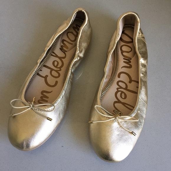 f833be4d01be9 Sam Edelman  Felicia  Ballet Flat in Molten Gold. M 5959934a5a49d059a508f893