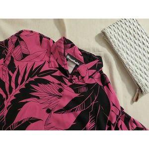 Vintage Hot Pink Hawaiian Tie Waist Crop Top