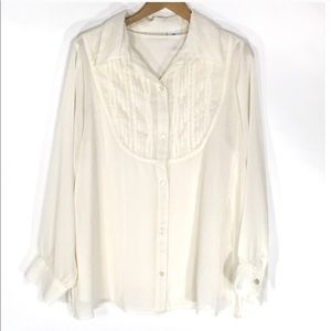 Tops - 3/$20 Ivory Button Up Tunic Blouse & Tank Set