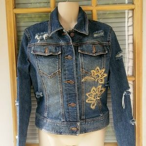 THE LIMITED Womens Distressed Jean Jacket Small