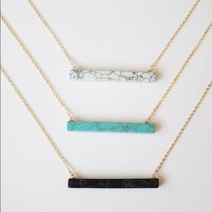 Marble Stone Bar Necklace Gold Long Delicate Chain
