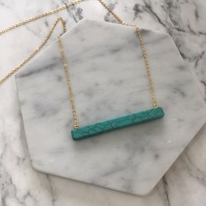 Marble Stone Bar Necklace Delicate Chain LAST 1!