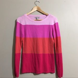 Banana Republic Pink Red & Orange Striped Sweater