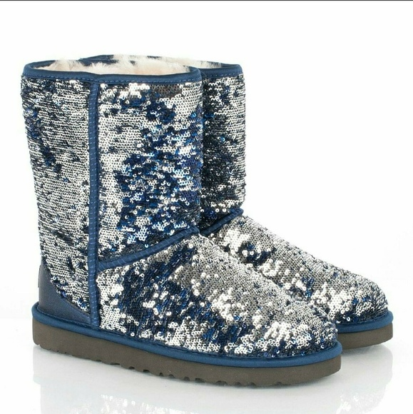 acd14fdd83e Uggs - Blue and Silver Sparkle sz 7 Women's