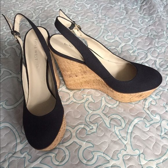 differently hot sales los angeles Nine West cork wedge closed toe black sling back