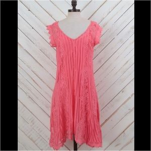 Altar'd State Bright Pink Lace Dress w/ pink slip