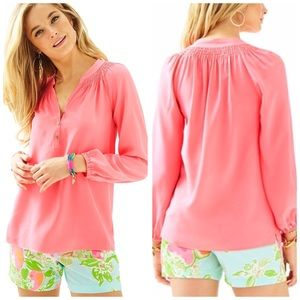 Lilly Pulitzer Elsa Silk Hot Coral Pink Blouse Top
