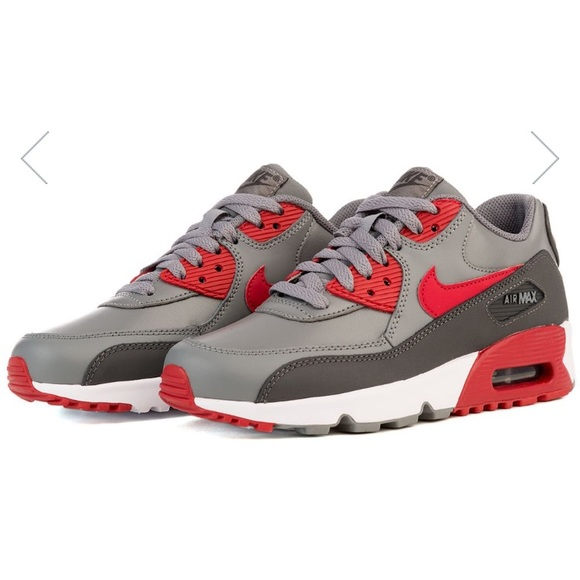 buy popular 29555 2318f Nike Air Max 90 Leather (GS) Grey Red White. M 5959aeb43c6f9f590302f108