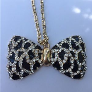 Jewelry - Long Spotted Bow tie Necklace