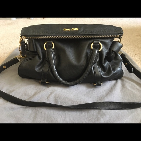 8000ecd70ab Miu Miu Bags | Black Vitello Lux Bow Bag | Poshmark
