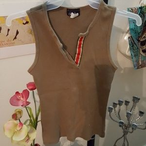 XS olive green tank top with red stripe