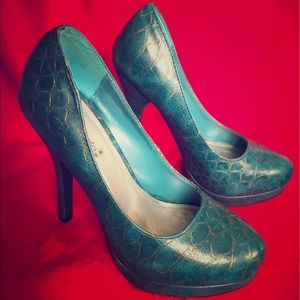 Reptile Pumps 🐊 Turquoise & Gold