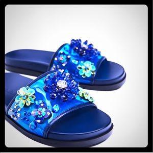 Zara flower slides sandals 2017