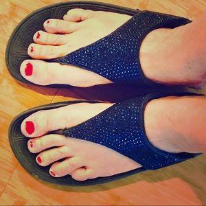 Fancy FitFlops Navy Blue Bling, Size 9 Sandals