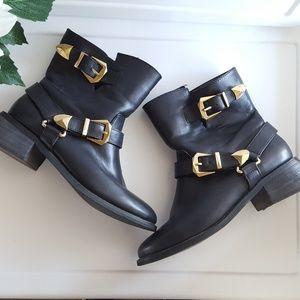 Black Buckle Ankle Boots Sz 7