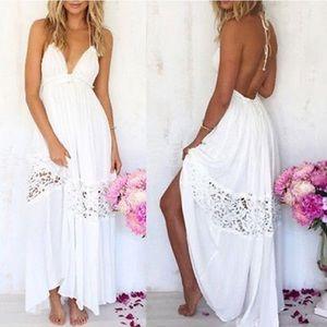 """Dresses & Skirts - 🌸""""Riza""""    White Lace Cutout Open-Back Maxi 🌸"""