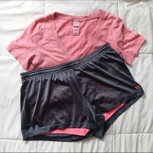 VS PINK Exercise Bundle (Shorts and T-Shirt)