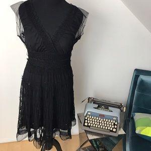 Max Studio Black mesh w/sequins dress