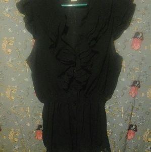 Tops - Black Ruffle Blouse