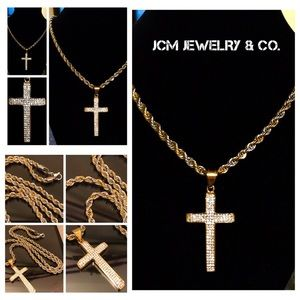 Other - 14K Gold Plated Swarovski Cross w/ Two Tone Rope