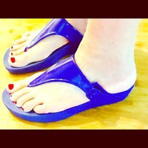 New FitFlop SuperJelly Royal Blue Flip Flops, Sz 9