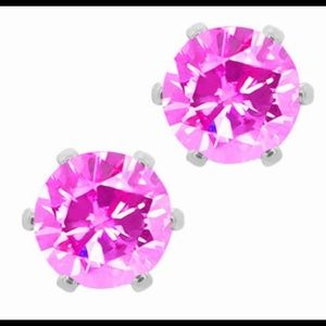 HOT PINK LARGE SIZE CRYSTAL STUD EARRINGS