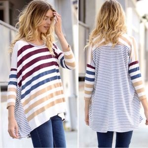 ❗️LAST❗️ Wine Striped Oversized Loose Tunic Top