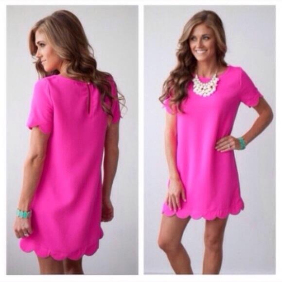 mollydolly Dresses & Skirts - ❗️LAST-M❗️ Barbie Pink Scallop Mini Dress
