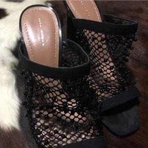 Beaded Mules Chunky Heel Slides