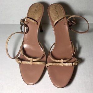 Sergio Rossi Tan Snakeskin Embossed Sandals