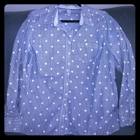 17f33f0c0e54 jcpenney Tops | Womens Jcp Blue White Polka Dot Button Down Shirt ...