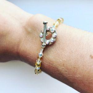 Warm yellow beaded elastic toggle bracelet