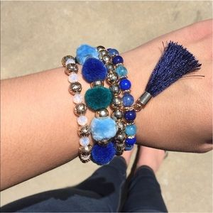 Beautiful Beaded Pom Pom Tassel Bracelet Set